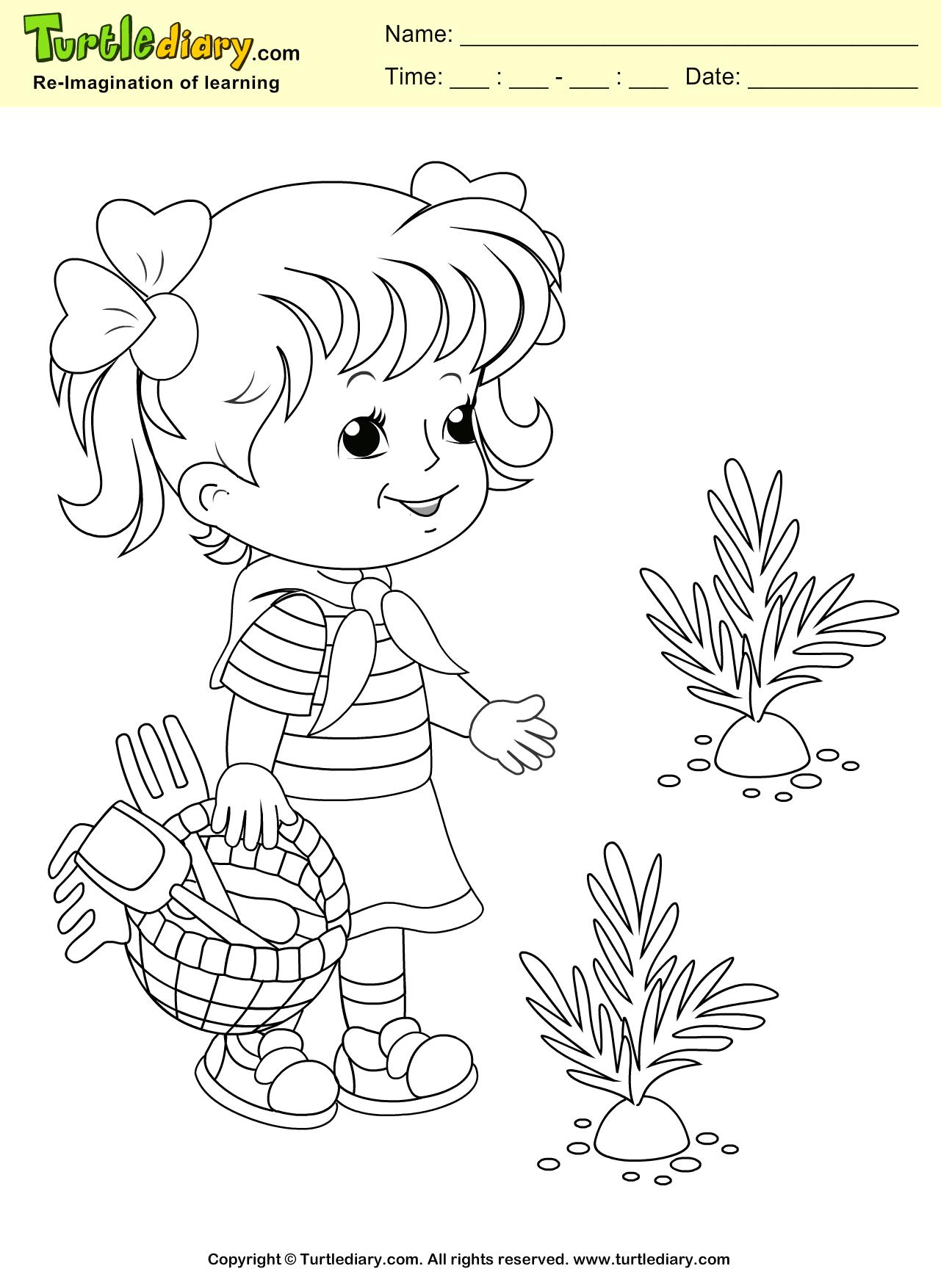 Spring Girl Coloring Sheet