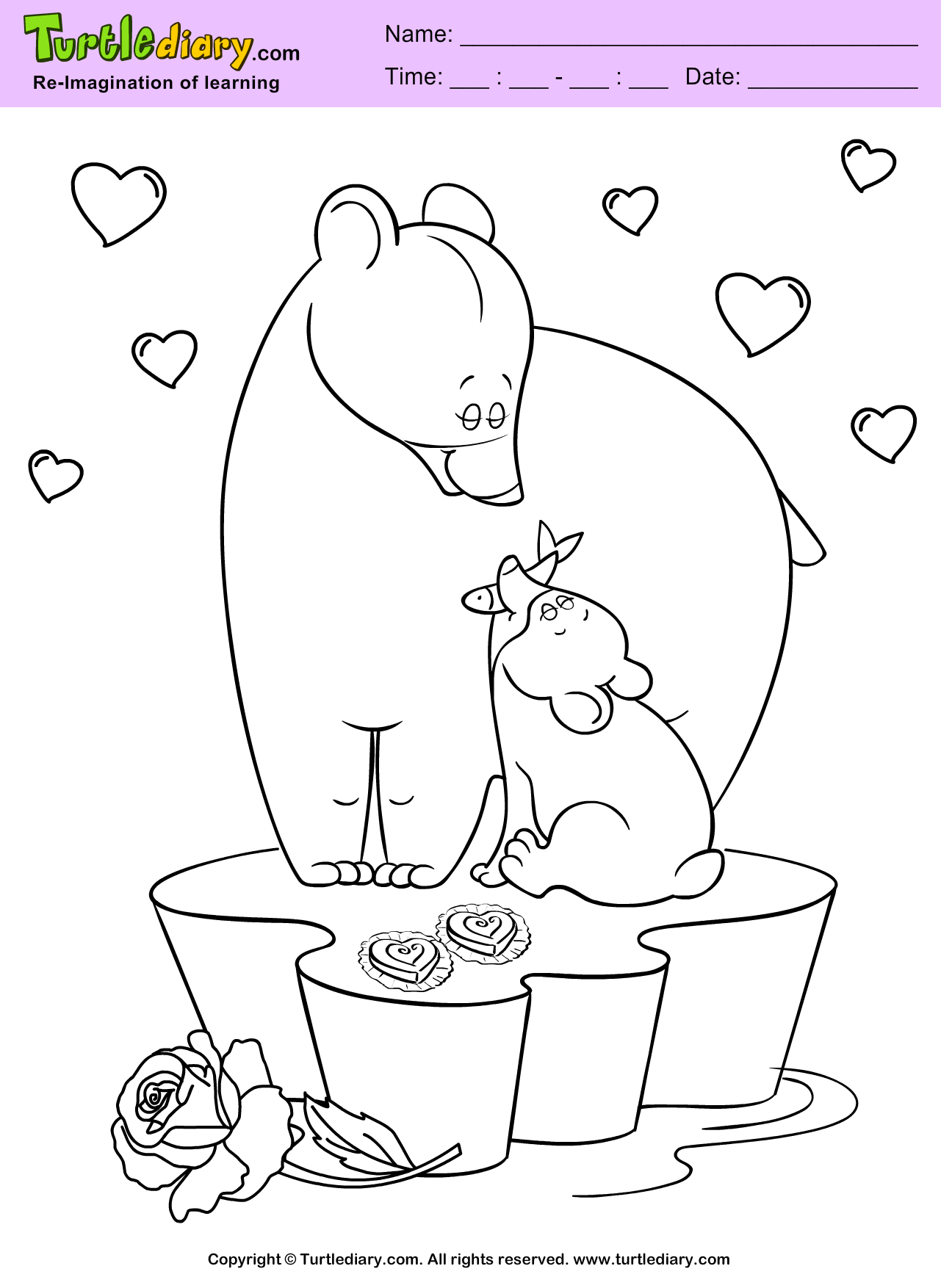 Bears Valentine Day Coloring Sheet