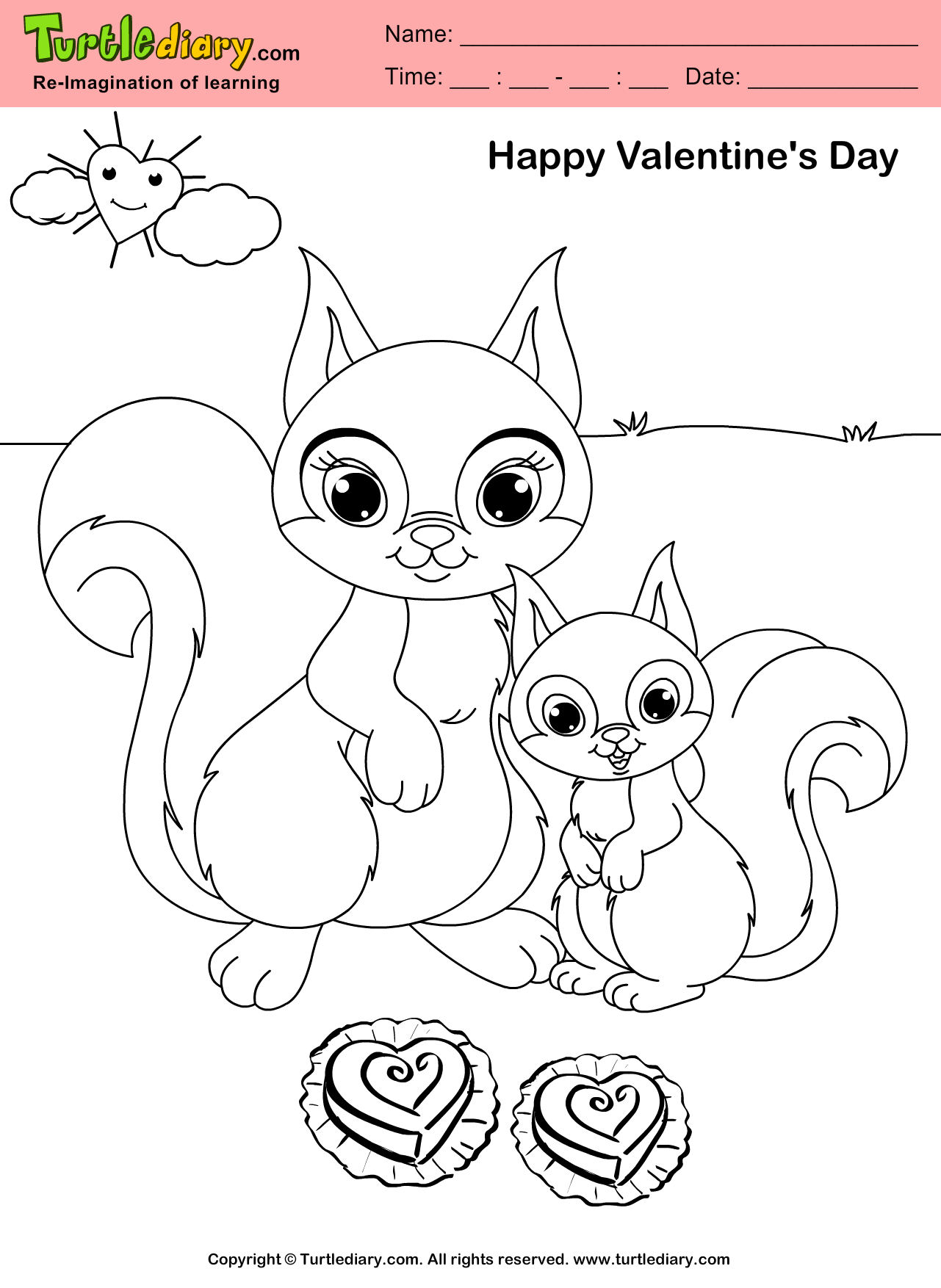 Squirrel Valentine Day Coloring Sheet