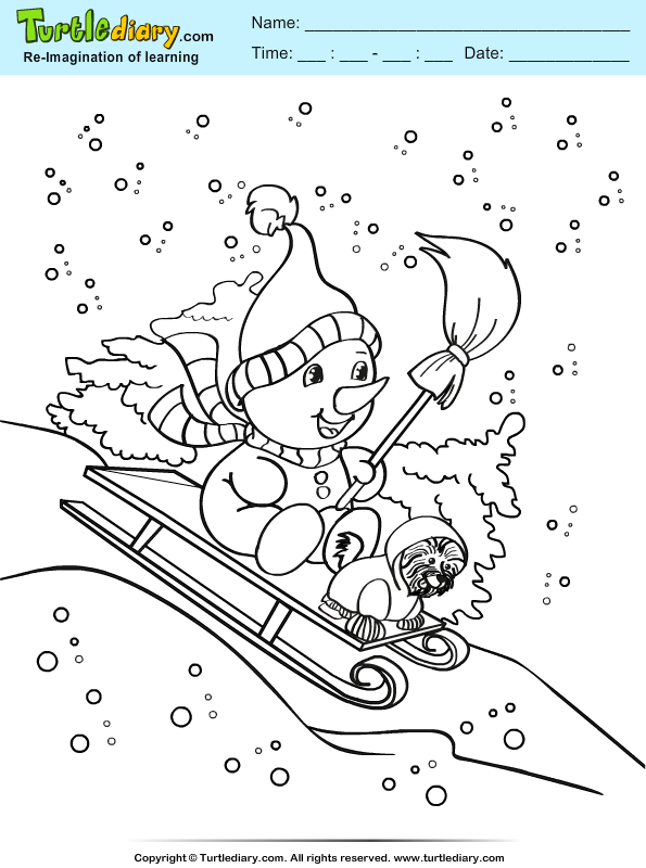 snowman and puppy coloring sheet turtle diary