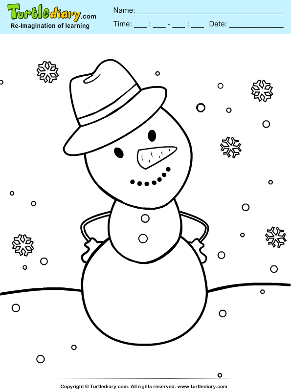 snowman with hat coloring sheet turtle diary