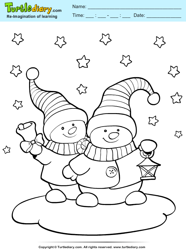 two snowmans coloring sheet turtle diary