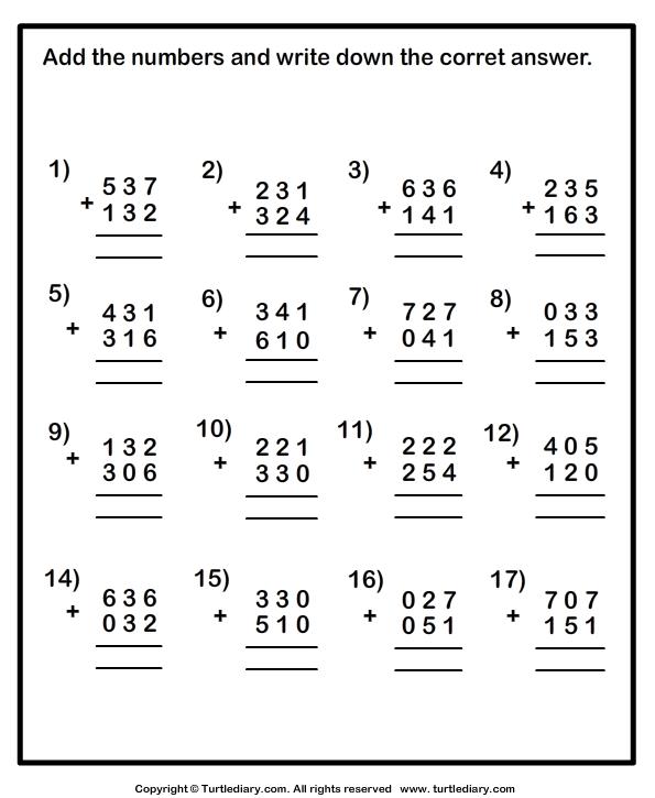 Addition Worksheets Column Addition Worksheets On Squared Paper – Column Addition Worksheets Year 4