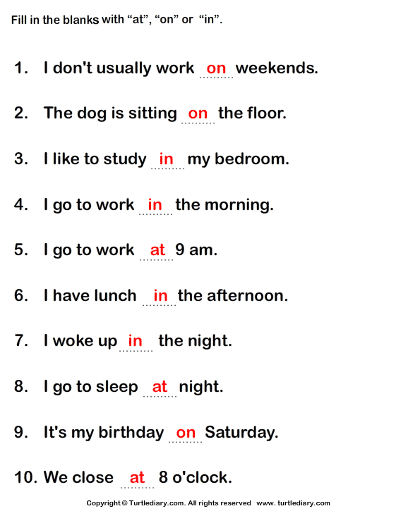Prepositions At In On Worksheet