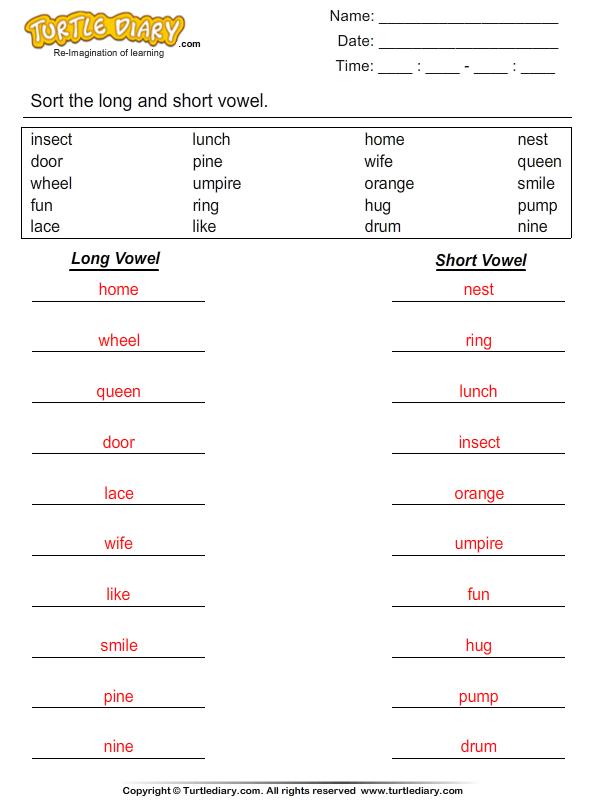 Short And Long Vowel Sound In Word List Worksheet Turtle