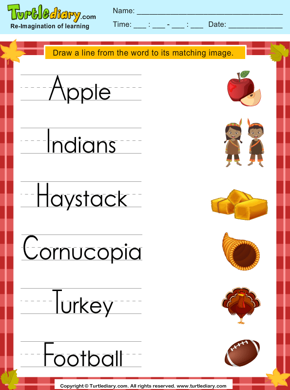 Thanksgiving Trace The Word Worksheet