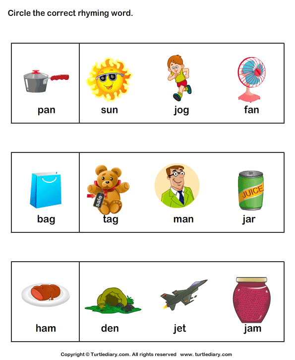Number Names Worksheets rhyming words kindergarten Free – Kindergarten Rhyming Worksheets