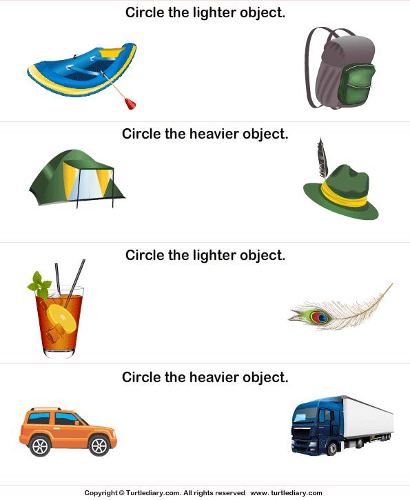 light and heavy 9 worksheet turtlediary com