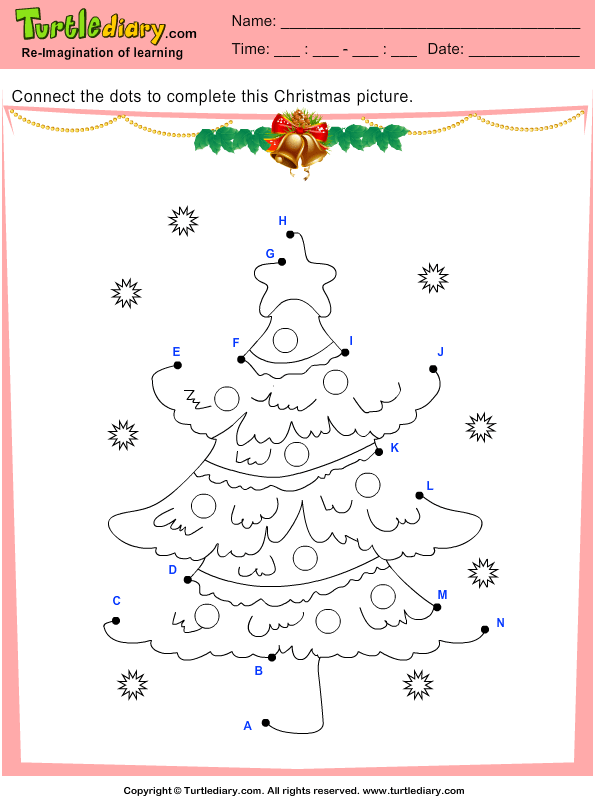 Connect The Dots Christmas Tree Worksheet Turtle Diary
