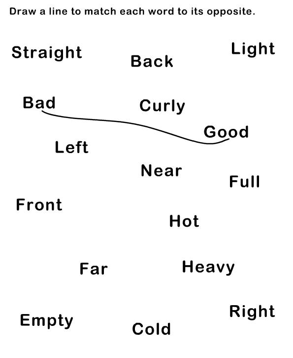Image Result For Opposite Worksheet For