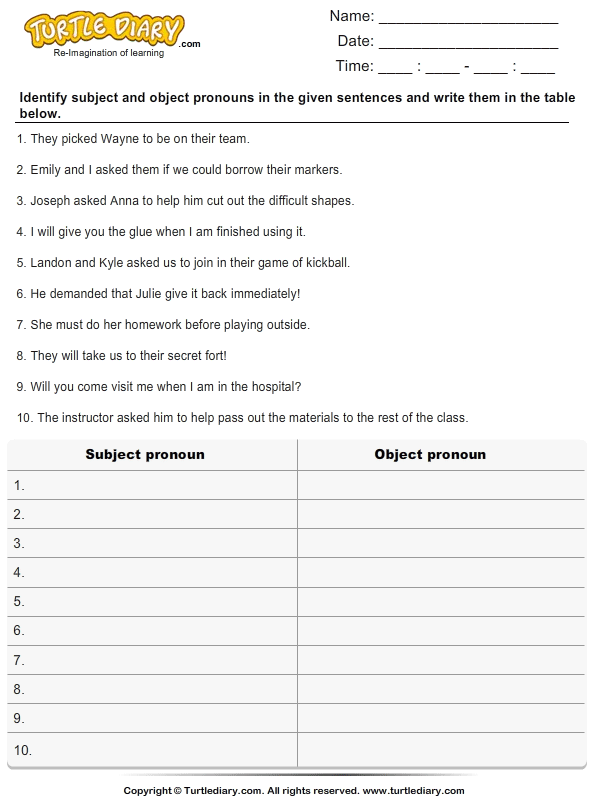Identify Subject And Object Pronoun And List Them