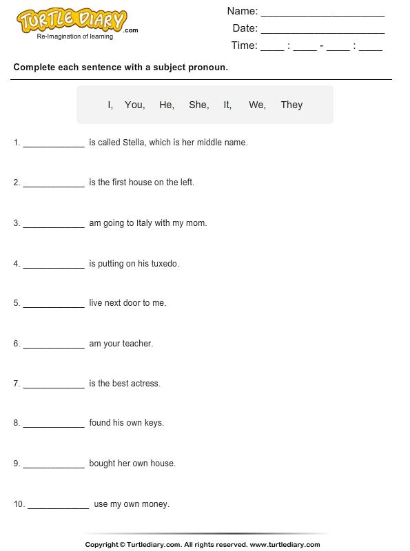 Identify Subject Pronoun For Each Sentence Worksheet