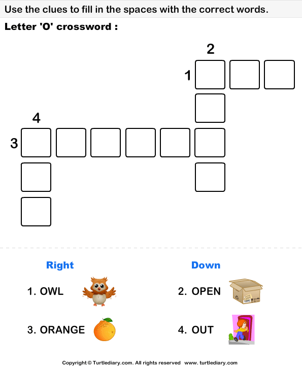 Letter O Crossword Worksheet