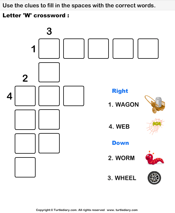 Letter W Crossword Worksheet
