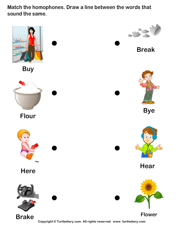 Matching Homophones Worksheet