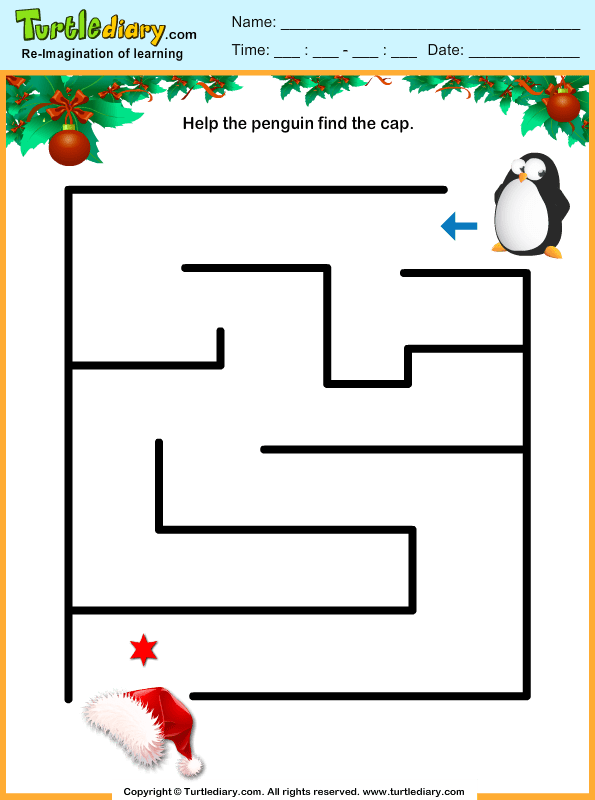 Penguin Cap Maze Worksheet Turtle Diary