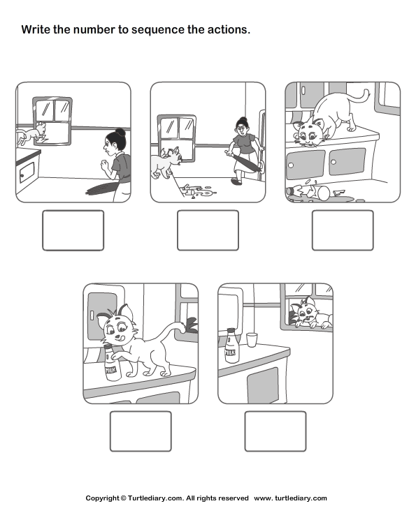 Picture Sequencing Cat In The House Worksheet