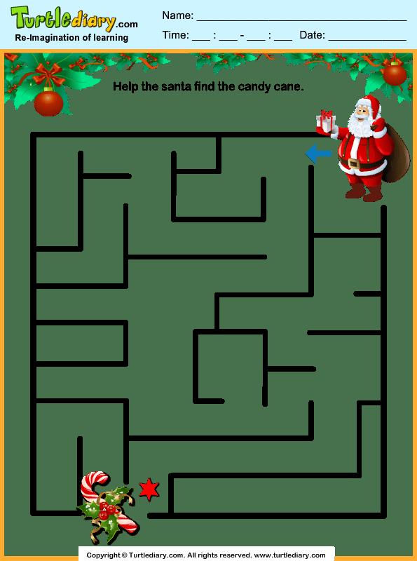 Santa Candy Cane Maze Worksheet
