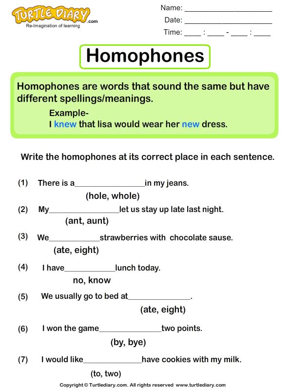 Sentences With Homophones Worksheet