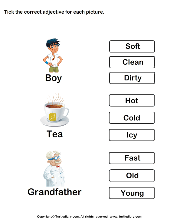 Tick Adjectives For Pictures Of Boy Tea Grandfather