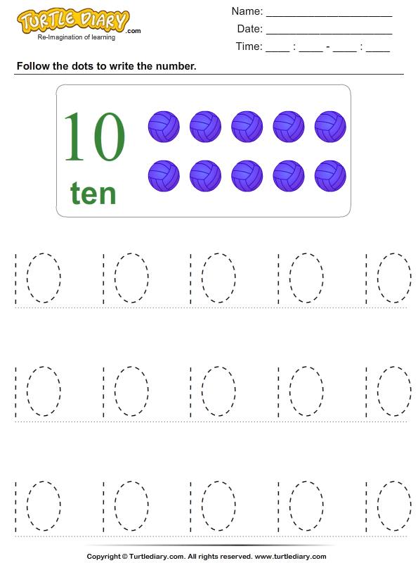 Trace The Number Ten Worksheet