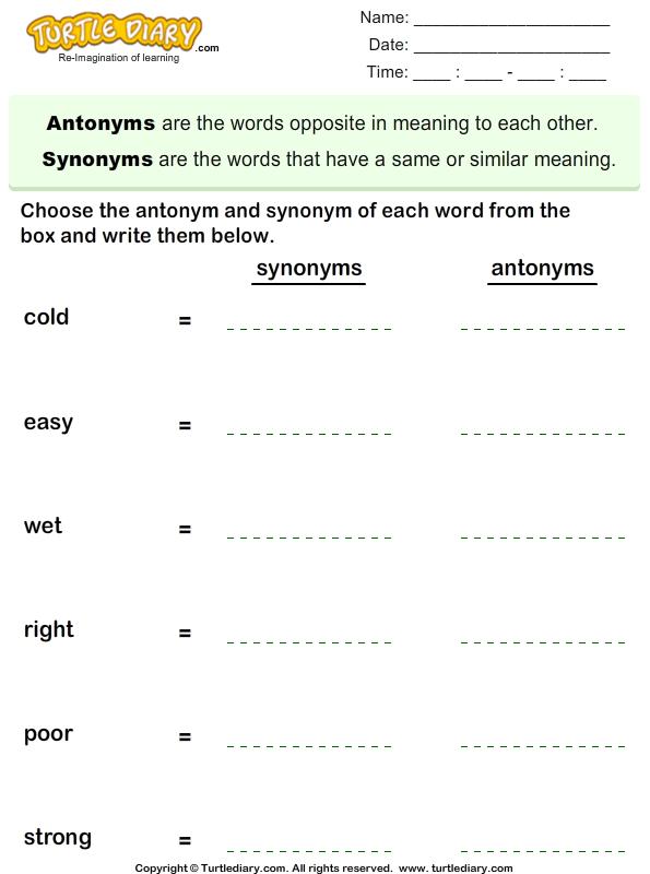 Write The Synonym And Antonym Of Each Word Worksheet