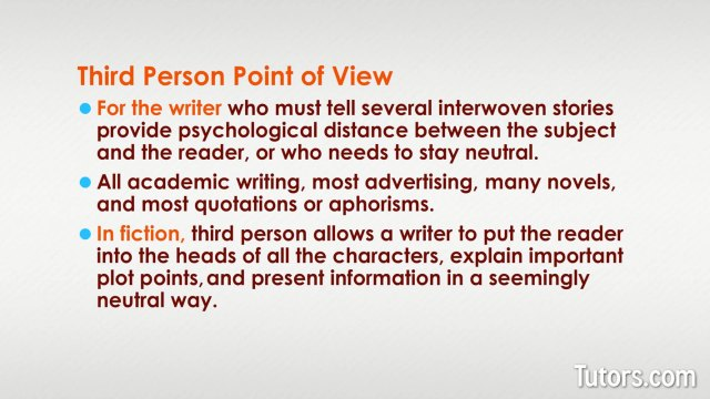 Point of View  First, Second, & Third Person