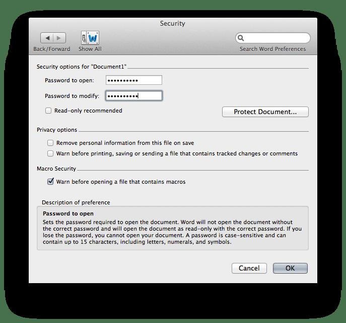 Open Password oblige les utilisateurs à entrer un mot de passe pour voir le document.  La modification du mot de passe oblige les utilisateurs à entrer un mot de passe pour modifier le document.