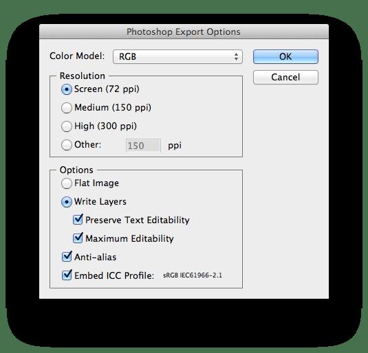 Photoshop Export Options