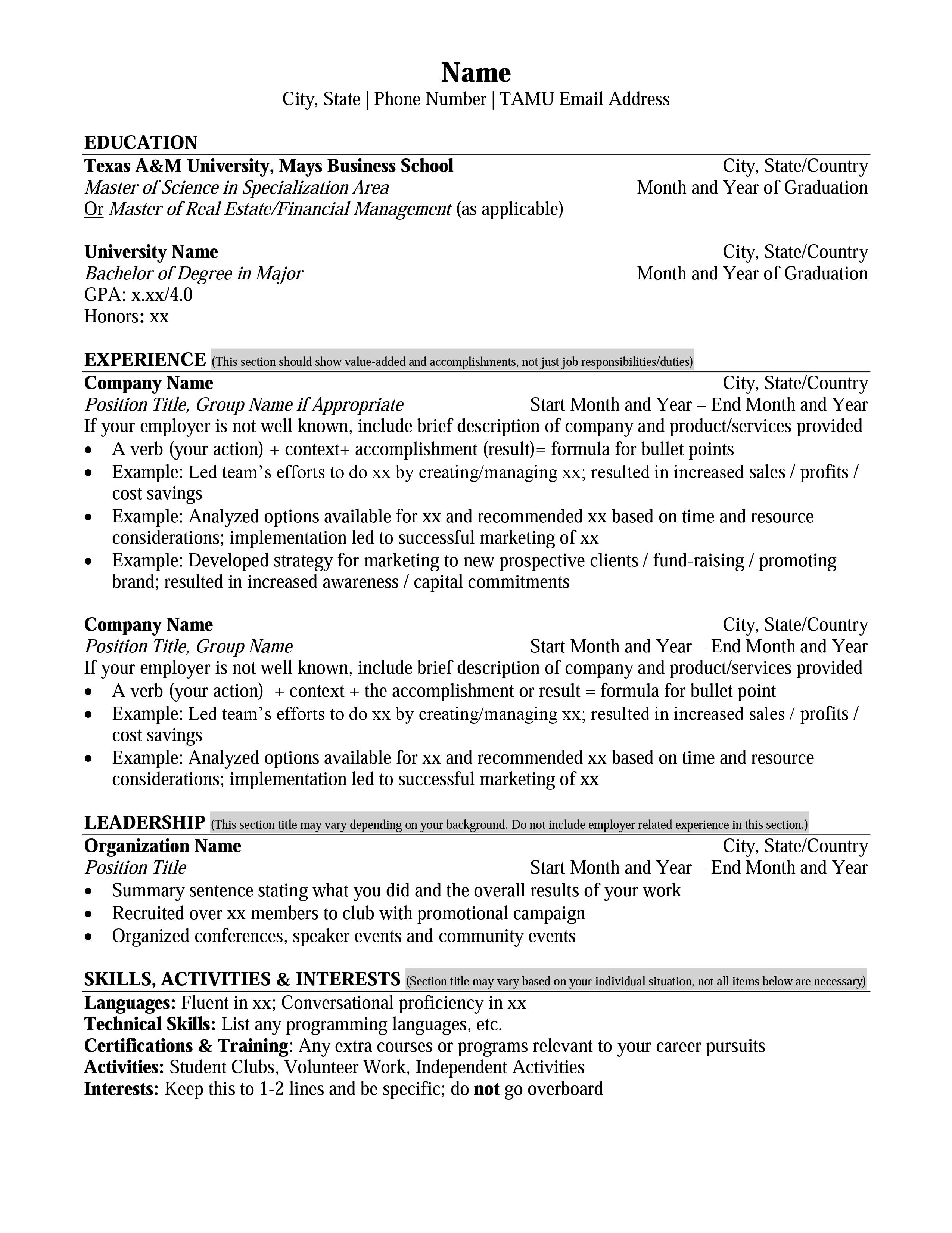Mays Masters Resume Format Career Management Center Mays Business School