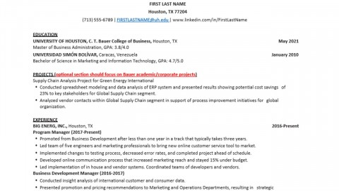 Bauer Mba And Ms Resume Template Rockwell Career Center Bauer College Of Business At The University Of Houston
