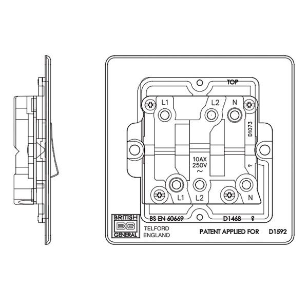bg nexus flatplate screwless polished brass 10a 1 gang triple pole fan  isolator switch