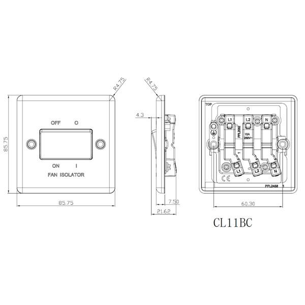 knightsbridge rounded edge brushed chrome 10a 3 pole fan isolator switch