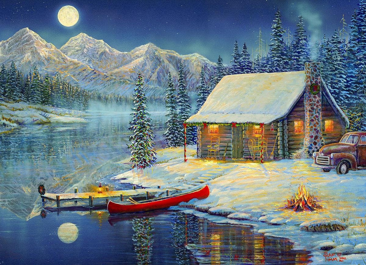 Old Fashioned Christmas Scenes Cozy Cabin