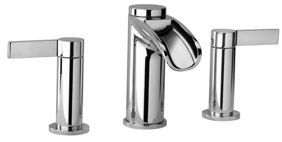 three hole waterfall bathroom vanity faucet