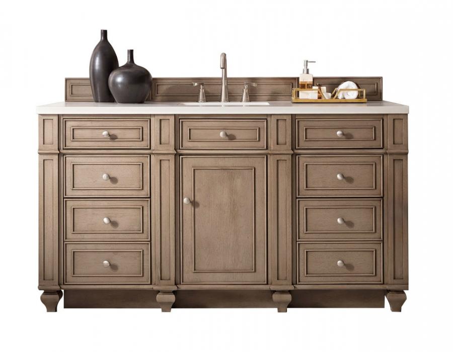 60 inch single sink bathroom vanity in white washed walnut