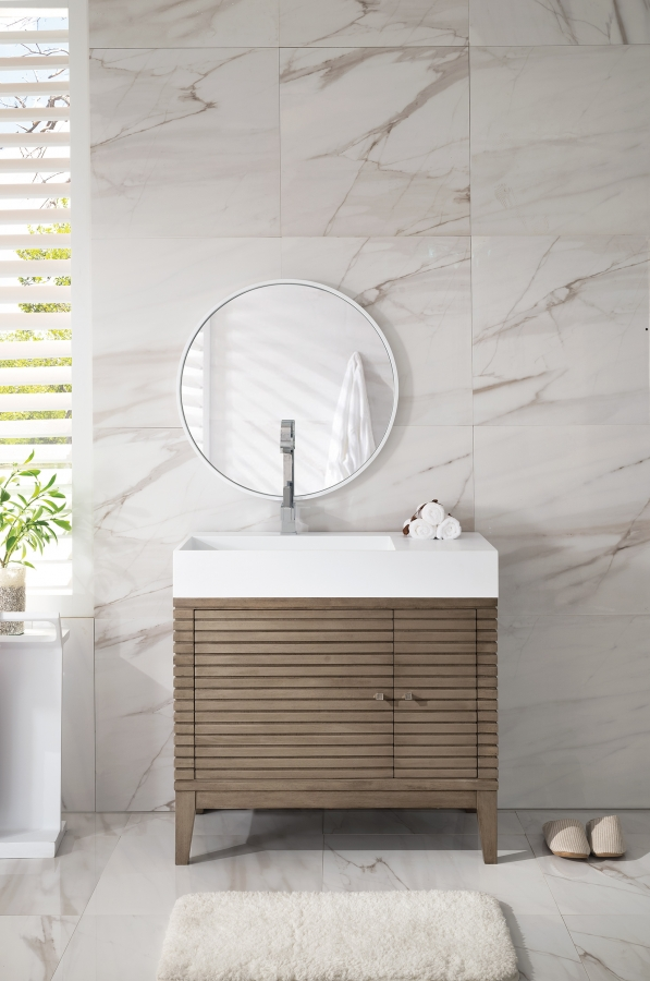 36 inch single sink bathroom vanity with solid surface