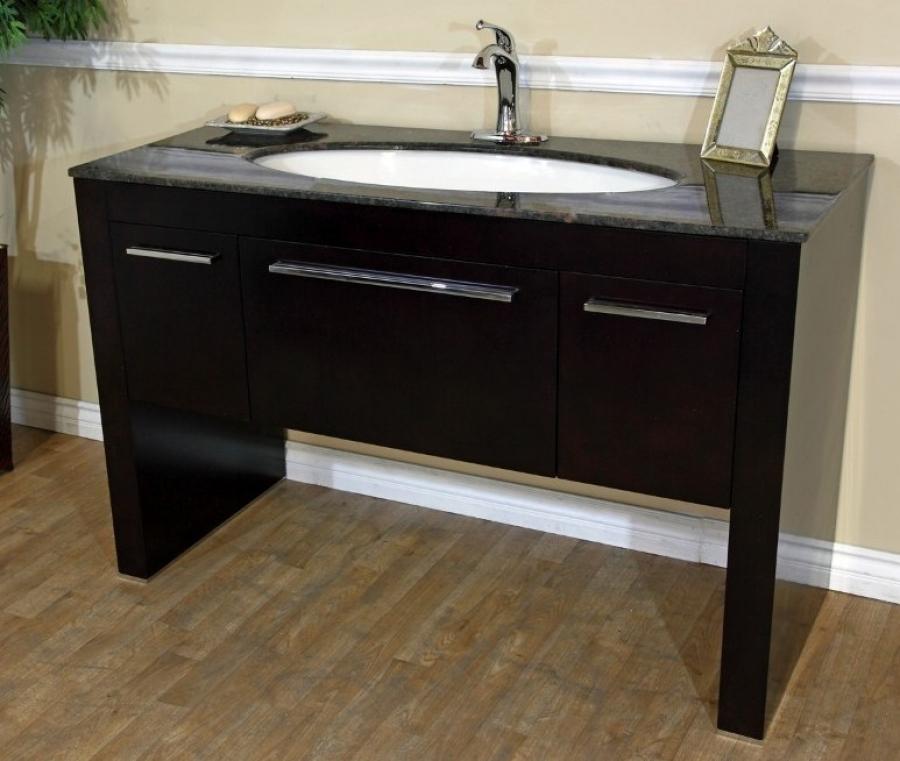 55 Inch Single Sink Bath Vanity In Walnut UVBH804380TB55