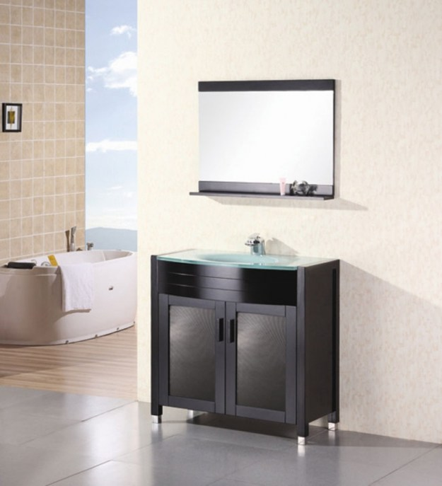 36 inch modern single sink bathroom vanity with tempered glass