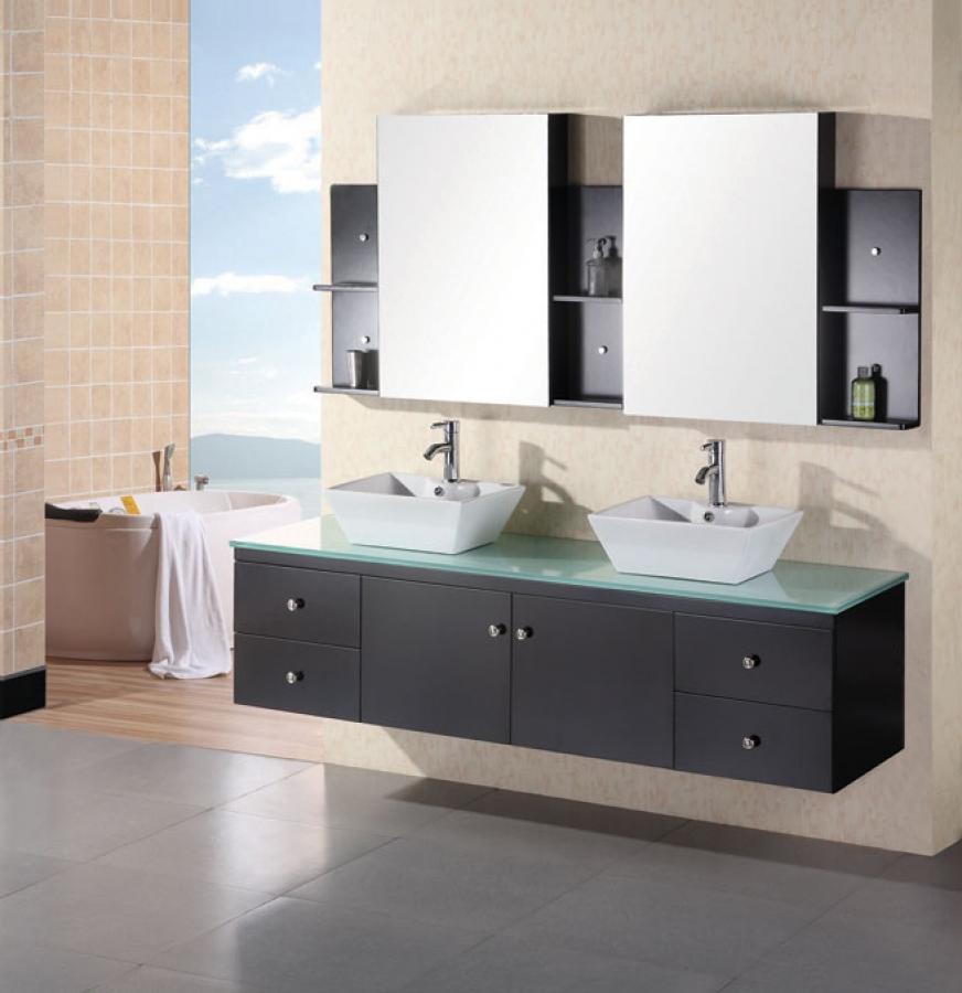 72 Inch Modern Double Vessel Sink Bathroom Vanity with ...