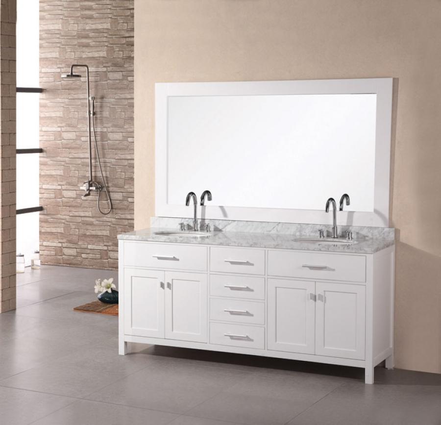 72 Inch Modern Double Sink Bathroom Vanity in Pearl White ...
