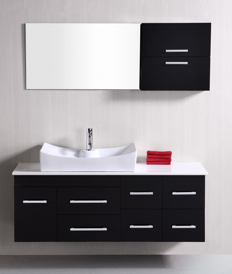 53 Inch Modern Single Sink Bathroom Vanity In Espresso UVDE110153