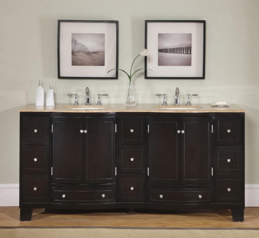 72 inch dark brown double sink vanity with travertine