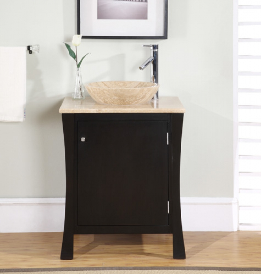 26 inch modern espresso vessel sink bathroom vanity