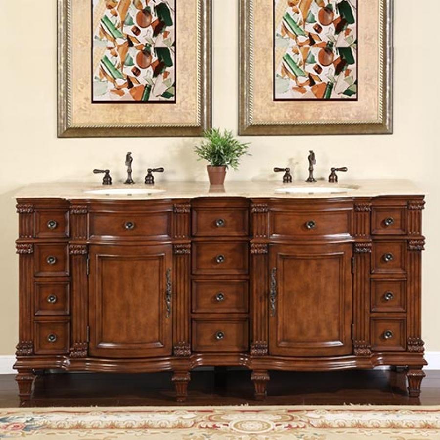 72 inch walnut double sink bathroom vanity with travertine