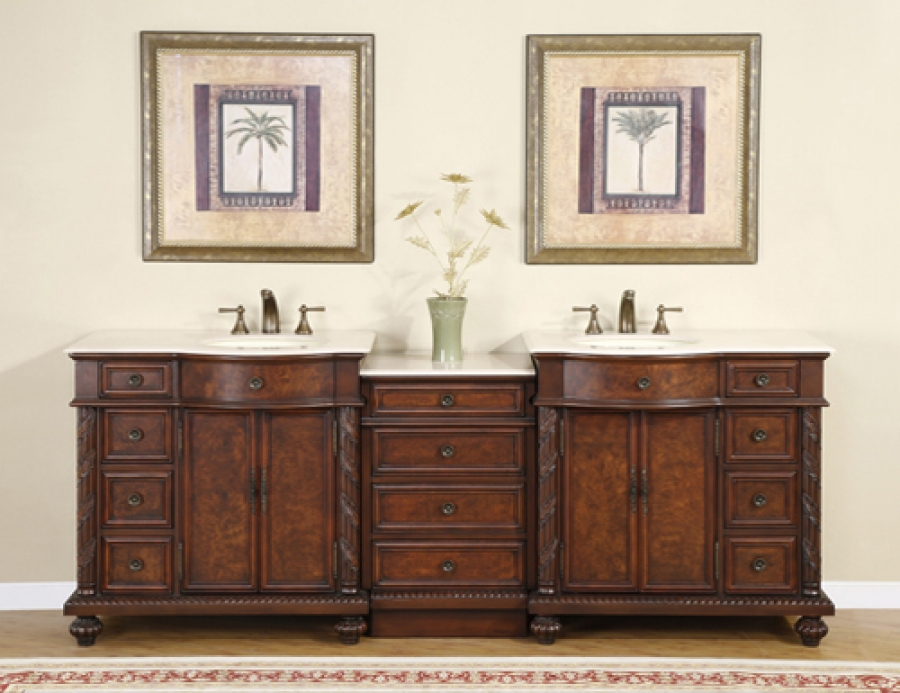 90 Inch Traditional Double Bathroom Vanity With Cream Marfil Marble And 4 Doors 12 Drawers