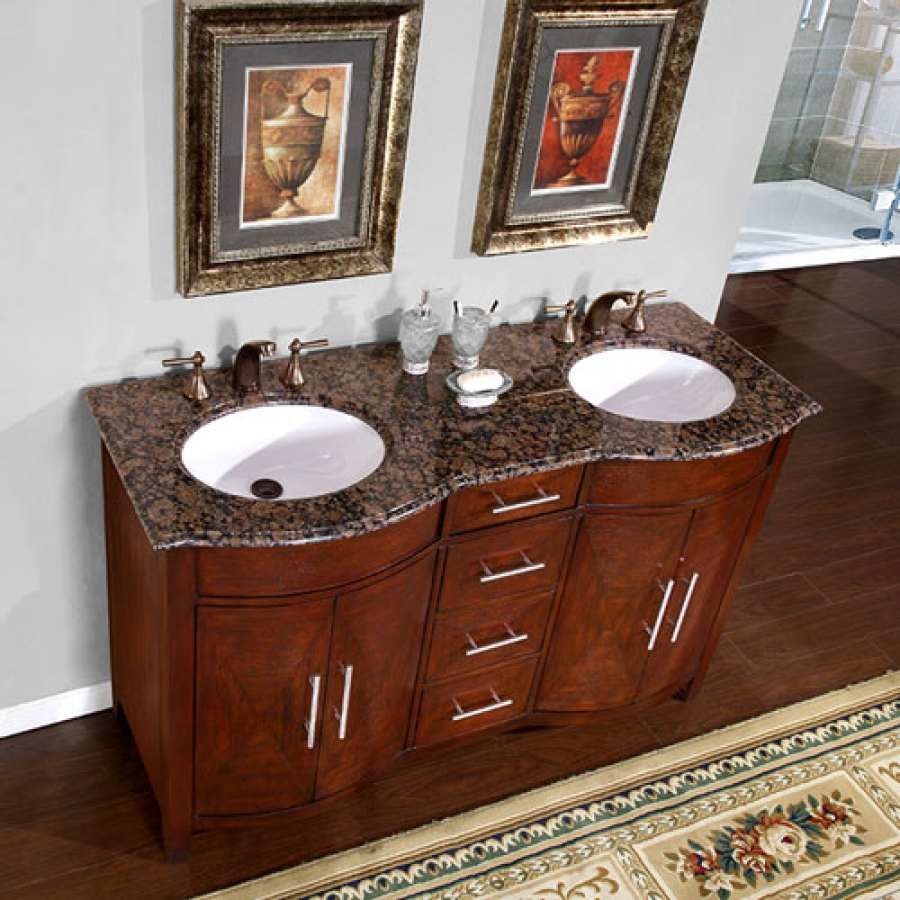 58 inch double sink vanity with a baltic brown top