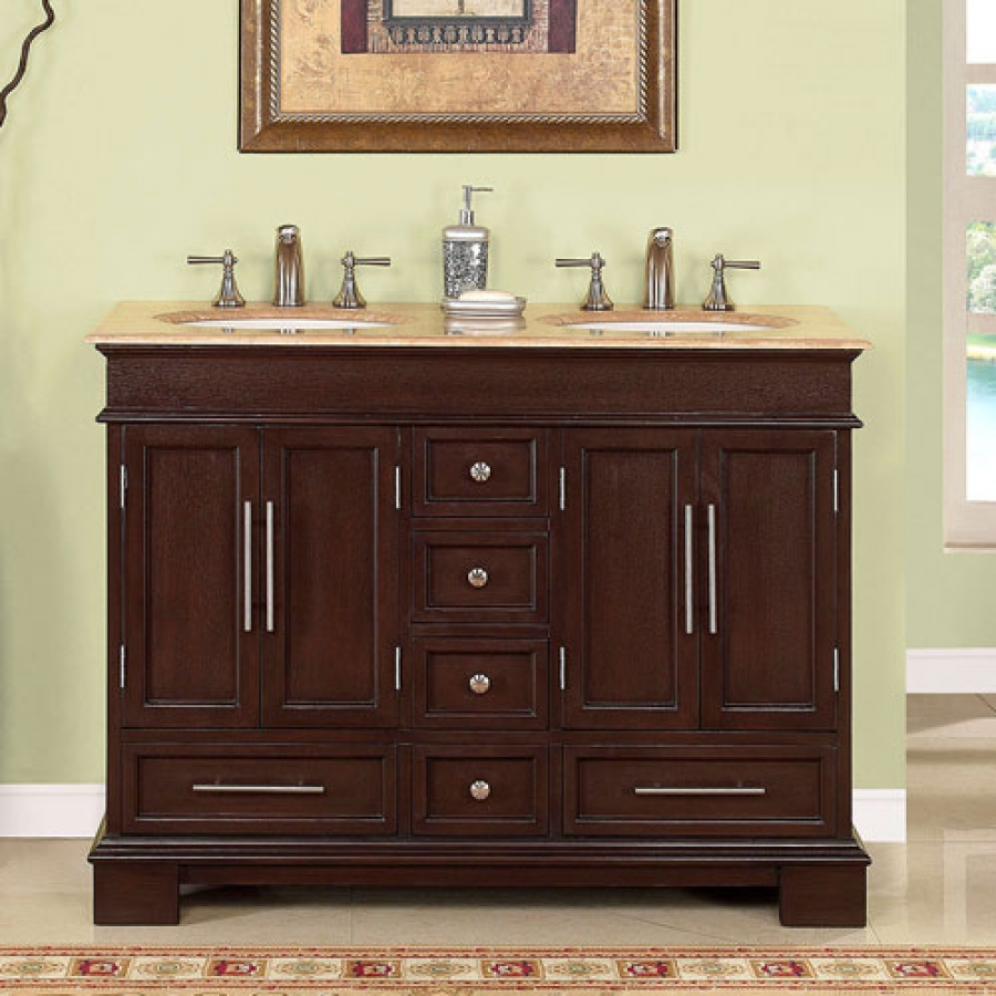 48 Inch Double Sink Bathroom Vanity In Dark Walnut UVSR022448