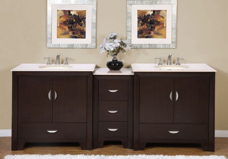 90 Inch Modern Double Bathroom Vanity With Choice Of Counter Top And 4 Doors 5 Drawers UVSR091090