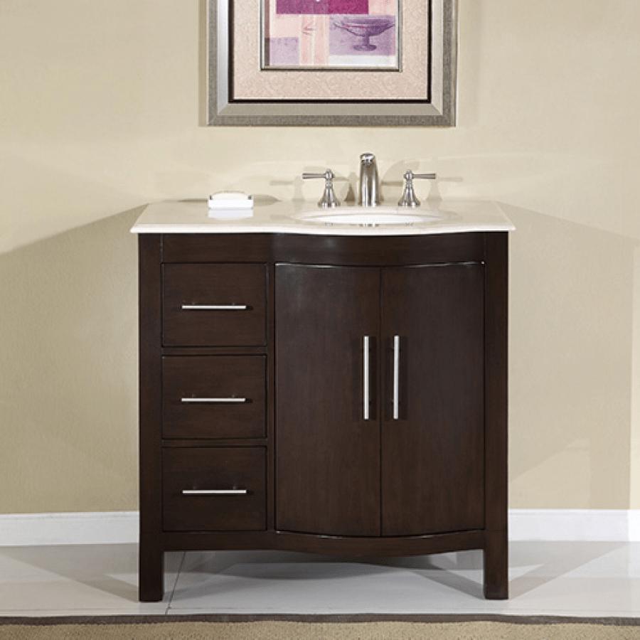 36 Inch Modern Single Sink Bathroom Vanity with Cream ...